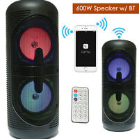 "NEW Portable Dual 5"" Bluetooth Wireless DJ Speaker 600W PA Loudspeaker - BLACK"