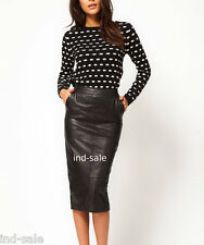 Genuine lamb Leather Knee Pencil Skirt Custom Tailor Made All Size Side Pockets
