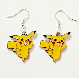 PIKACHU Pokemon Theme Yellow Hook Earrings Girls Ladies Gift Pouch UK