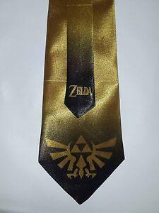 L@@K! Legend of Zelda - Triforce Gold Satin  Neck Tie