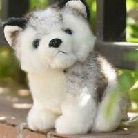 Realistic Husky Dog Plush Toy Stuffed Animal Soft Wolf Kids Doll Gift Size D2L5