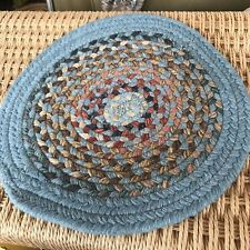 Vintage Wool Braided Small Rug Round Blue Red Brown Cream