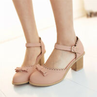 Women's Bowknot Mary Jane Chunky Heels Ankle Strap Pumps Round Toe Party Shoes
