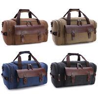 Men Large Canvas Leather Travel Bag Duffle Tote Handbag Shoulder Bag Gym Luggage
