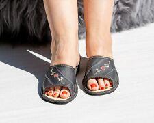 Womens Ladies Slippers Leather Floral Pattern Black Kapcie CLEARANCE SALE!