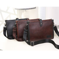 New Men's Leather Briefcase Messenger Laptop Document File Satchel Bag Tote