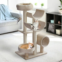 PawHut Multi-Level Large Cat Tree Scratching Post Perch Tunnel Hanging Ball