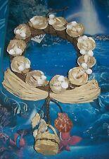 """9""""  RAFFIA & SEA SHELL WREATH NAUTICAL BEACH DECOR TROPICAL NAUTICAL"""