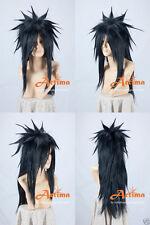 NARUTO Uchiha Madara Black Long Anime Cosplay Costume Wig +Free CAP