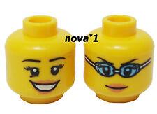 LEGO HEAD FEMALE  GIRL OPEN SMILE  DUEL SIDED FOR MINIFIGURE NEW