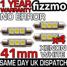 4x 41mm 264 C5w Sv8.5 6000k Luminoso Bianco 3 Led Smd Festone Lampadina Privo Di