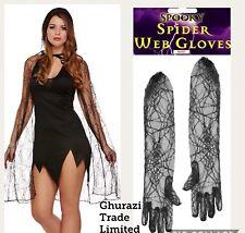 Black Spiderweb Witch Halloween Cape Cloak + Long Gloves Fancy Dress Costume