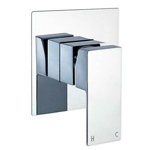 Chrome Concealed Shower Mixer Tap Bathroom Manual Wall Hot Cold Valve Square