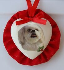 Lhasa Apso Dog Christmas Ornament, Heart Shaped