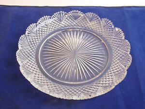 """ABP Cut Glass Platter Dish Plate Tray Heavy Crystal Round Rays Diamonds Fans 11"""""""