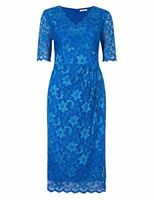 Marks & Spencer Twiggy Mid Blue Lace Dress Fitted with Internal Bodycon Lining