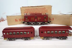 Vintage Prewar Lionel Standard Gauge No.8 Maroon Electric Engine & Passenger Set