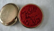 Vintage Pill Box Gold Tone Cinnabar Hand Carved Top