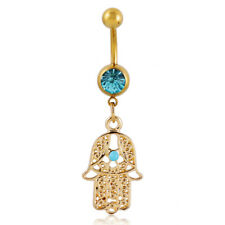 Fashion Buddha Hand Dangle Belly Button Ring Bar Body Piercing Jewelry-Gold