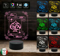 LAMPADA led POKER gioco Texas Hold'em 7 colori selezionabili con touch a batteri