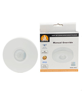 "Ceiling PIR Infrared Motion Sensor 360"" manual override IP65 bathroom"