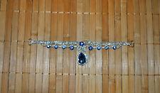 Applikation  Borte Silber Blau Hochzeit  Strass  16 cm