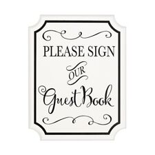 """** PLEASE SIGN OUR GUEST BOOK EASEL SIGN 7""""x9"""" ENGAGEMENT WEDDING PARTY WHITE *"""