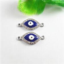 8pcs Enamel Silver Alloy Crystal Blue Evil Eye Pendants Jewelry Connectors 51807