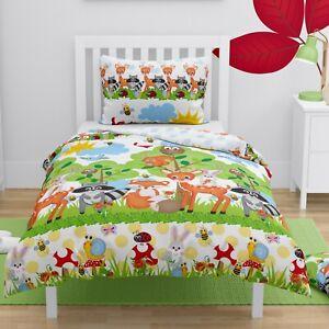 Forest Animals Girls Boys Toddler Duvet Bedding Set Cot Bed Cover 150x120 cm