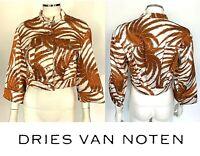 Dries Van Noten Tan White Satin Palm Cropped Button Up Jacket Size US 2 34