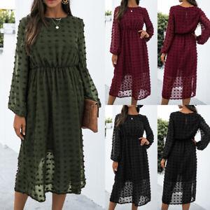 Womens Mesh Midi Dress Ladies Long Sleeve Autumn Evening Party Cocktail Dresses