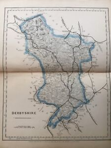 1875 Antique Map;  Cary / Cruchley map of Derbyshire. Orig Outline Colour