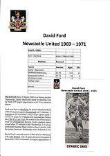 David Ford Newcastle United 1969-1971 Firmado Original Revista Imagen De Corte