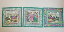 CATS /SHEEP 3 Square Panels each 22 cm sq.100% cotton fabric Green, pink, yellow