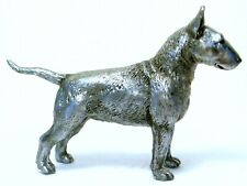 PEWTER HAND MADE MINIATURE BULL TERRIER DOG IN SILVER COLOUR STATUETTE