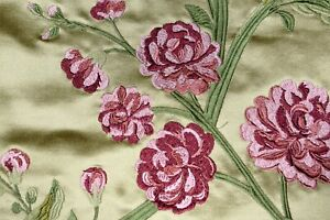 """Silk Blend Beacon Hill Rose Queen Cashmere Upholstery Drapery Floral Fabric 55""""W"""