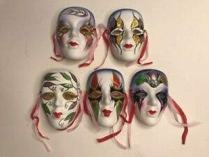 """Set of 5 Clay Art 4"""" Ceramic Wall Mask Decorative With Ribbons New w/Boxes"""