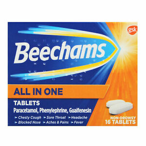 Beechams All In One 16 Tablets Pain Relief - Sore Throat, Headache, Aches Pains