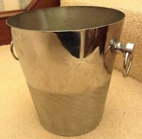 VINTAGE STAINLESS STEEL CHAMPAGNE WINE BUCKET ICE COOLER BAR ANDRÉ LEROY FRANCE