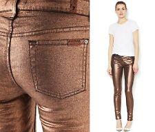 $198 7 for All Mankind 25 Liquid Metallic Copper Skinny Women Jeans Lady Pants