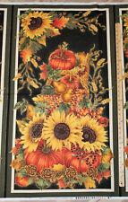 "Autumn Harvest Sunflower Fall Thanksgiving Fabric 23"" Panel #9030"