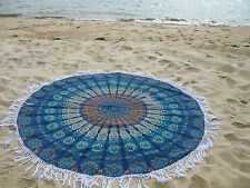 Round Mandala Indian Bohemian Blue Tapestry Beach Picnic Throw Rug Tablecloth