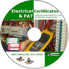 Electrical Certificates & PAT Testing Forms BS7671 2018 18th Edition