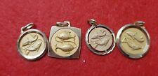 Lot pendentifs vintage plaqué or poisson RefV688