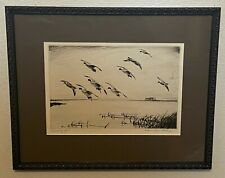 Original Churchill Ettinger Pencil Signed Sporting Art Duck Etching - Scaling In