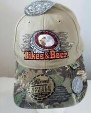 Bikes & Beer Baseball Cap Built in Bottle Opener Camouflage Design Pot-A-Top NWT