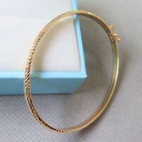 AU750 Pure 18K Yellow Gold Women Best Gift New 3mm W Bangle Bracelet/ 3.5g