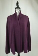 Studio Works women's size xl long sleeve open front cardigan metallic tread bb14