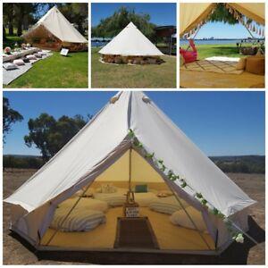 5M Bell Tent British Yurt Tent Canvas Outdoor Glamping Beige Fishing Waterproof