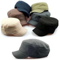 Unisex Mens Womens Short Visor Plain Pattern Cadet Military Cap Trucker Hats